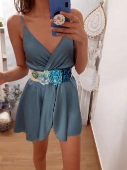 Cinturon rafia flores azules