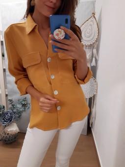 Camisa lisa botones nacarados