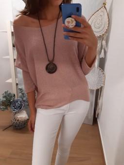 Conjunto suéter rosa con...