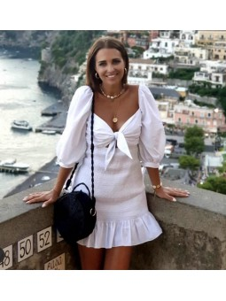 Vestido blanco fruncido...