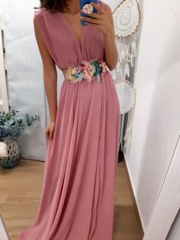 Vestido gasa rosa calpe//...