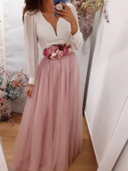 Falda larga rosa varias...