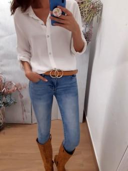 Camisa lisa blanca manga larga