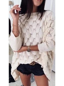 Suéter beige oversize...