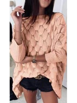 Suéter rosa oversize efecto...