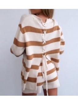 Conjunto suéter franjas...