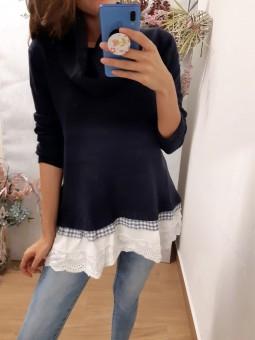 Suéter azul marino ancho...