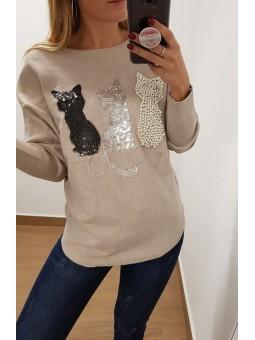 Suéter beige gatitos pedrería
