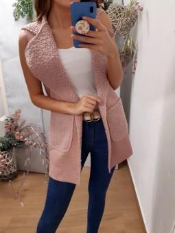 Chaleco borreguito rosa