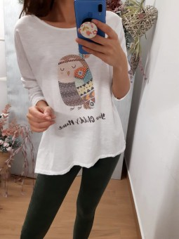 Suéter manga larga buho brillo