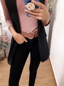 Cinturón ancho rosa hebilla...