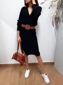 Vestido lana cruzado negro (F)