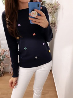 Suéter liso azul marino...