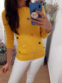 Suéter liso mostaza mini...