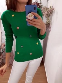 Suéter liso verde mini...