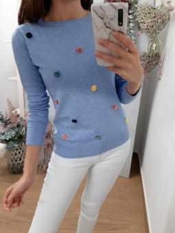 Suéter liso celeste mini...
