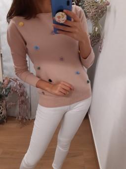 Suéter liso rosa mini...