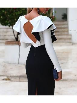 Vestido Sara blanco y negro