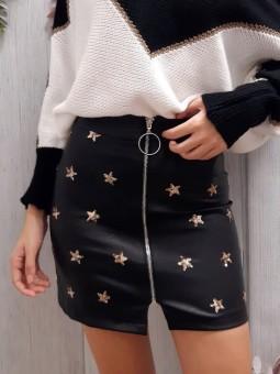 Falda negra polipiel...