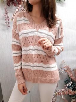 Suéter rosa estilo zig-zag...