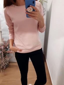 Suéter rosa palo punto fino...