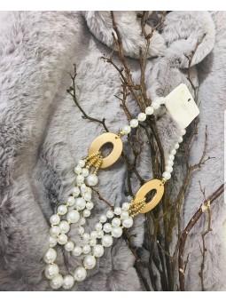 Collar perlas ovalos dorados