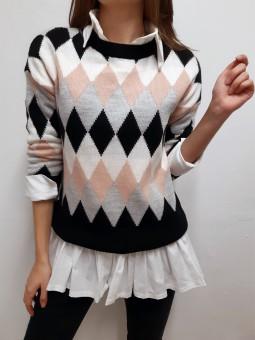 Suéter rombos negro, rosa,...