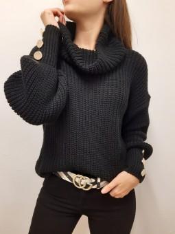 Suéter Nadia negro botones...