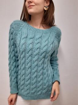 Suéter aguamarina lana...