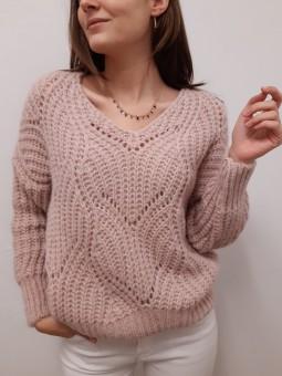 Suéter rosa palo troquelado...
