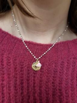 Mini collar abalorios rosa...