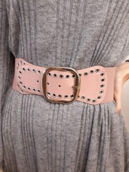 Cinturón rosa ancho elástico