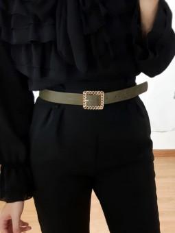 Cinturón fino verde militar...
