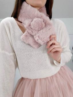 Cuello pelito rosa pompón