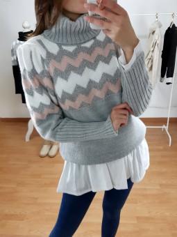 Suéter gris zig-zag rosa...