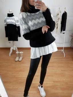Suéter negro zig-zag blanco...