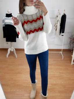 Suéter blanco roto zig-zag...