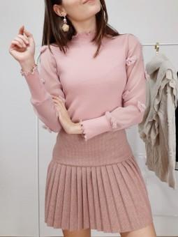 Suéter rosa suave mangas...