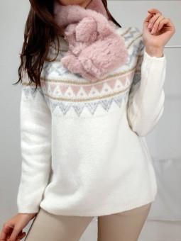 Suéter snow franjitas rosa,...