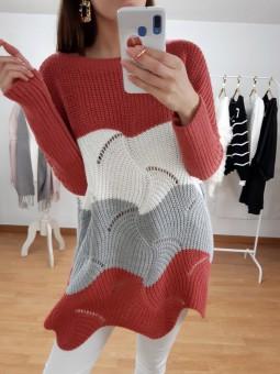 Suéter/vestido tricolor...