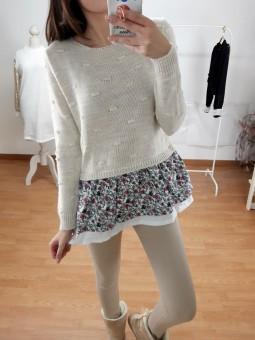 Suéter beige lana mini...