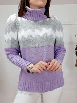 Suéter lila zig-zag blanco...