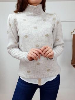 Suéter beige lunares lamé...