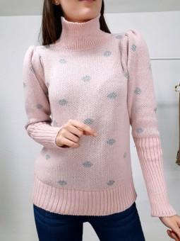 Suéter rosa lunares lamé...