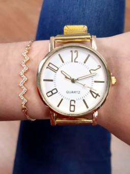 Conjunto reloj dorado malla...