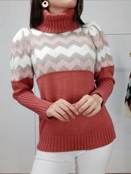Suéter coral subido zig-zag...