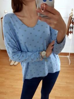 Suéter punto fino azul mini...