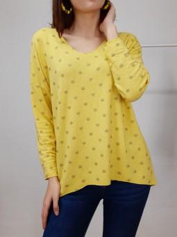 Suéter punto fino amarillo...