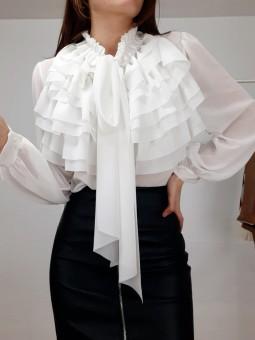 Blusa blanca volantes y...