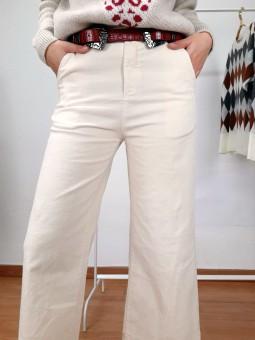 Pantalón tobillero marfil...